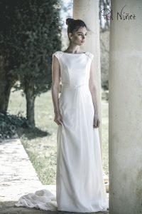 Vestido de novia de corte clasico en seda natural