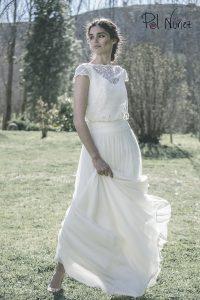 Vestido de novia efecto dos piezas