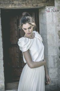 Vestido de novia en dos piezas blusa y falda