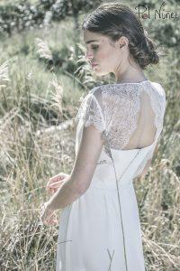 Vestido de novia palabra de honor con encaje chantilli