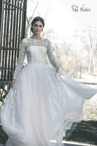 Vestido de novia tipo bailarina palabra de honor con tul bordado en cuerpo